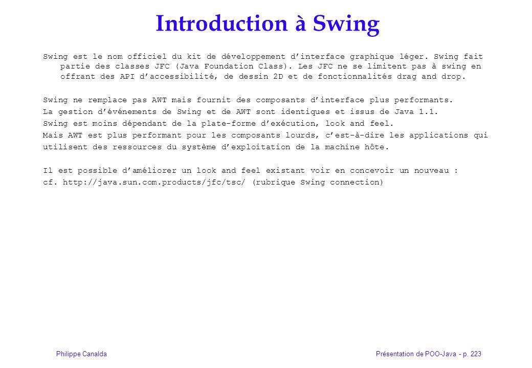 Présentation de POO-Java - p. 223Philippe Canalda Introduction à Swing Swing est le nom officiel du kit de développement dinterface graphique léger. S