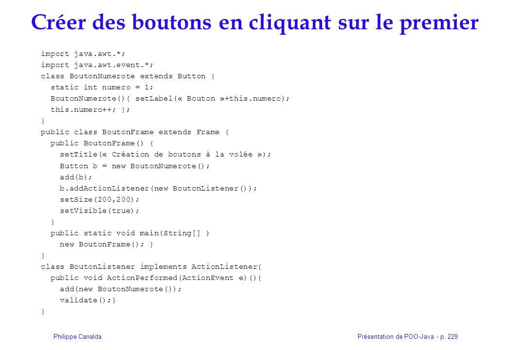 Présentation de POO-Java - p. 229Philippe Canalda Créer des boutons en cliquant sur le premier import java.awt.*; import java.awt.event.*; class Bouto
