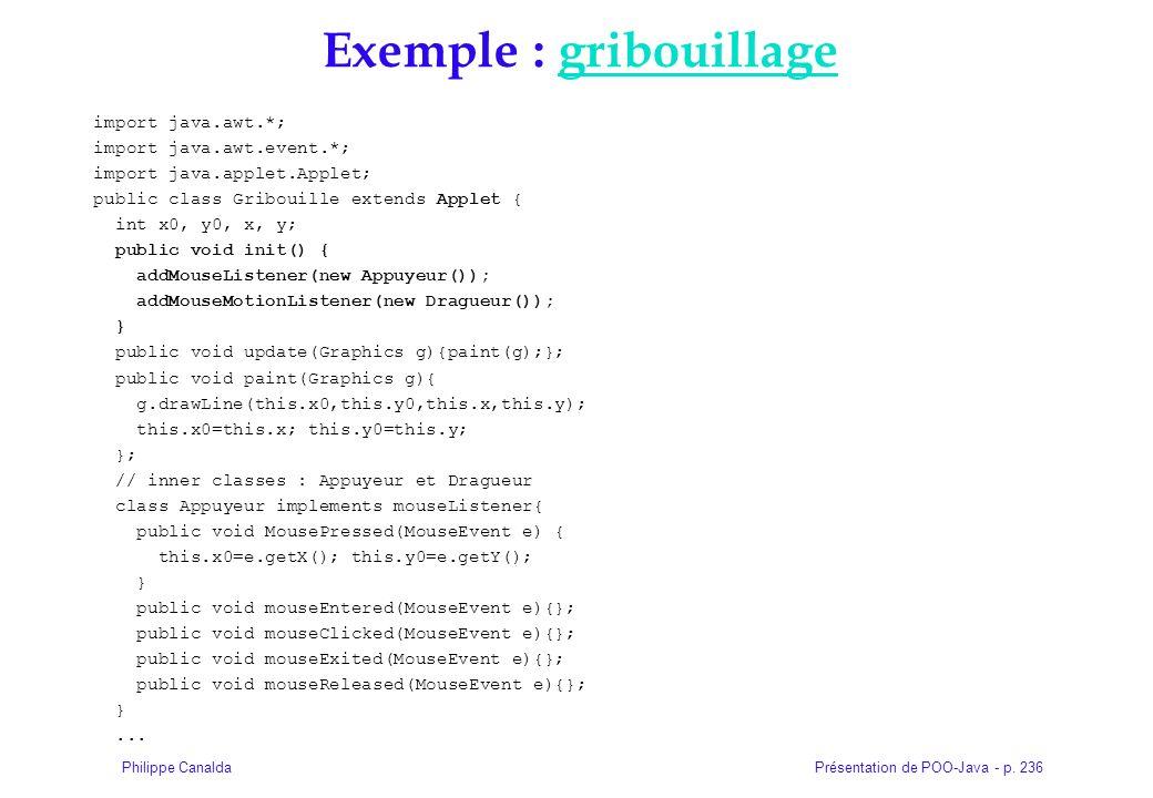 Présentation de POO-Java - p. 236Philippe Canalda Exemple : gribouillagegribouillage import java.awt.*; import java.awt.event.*; import java.applet.Ap