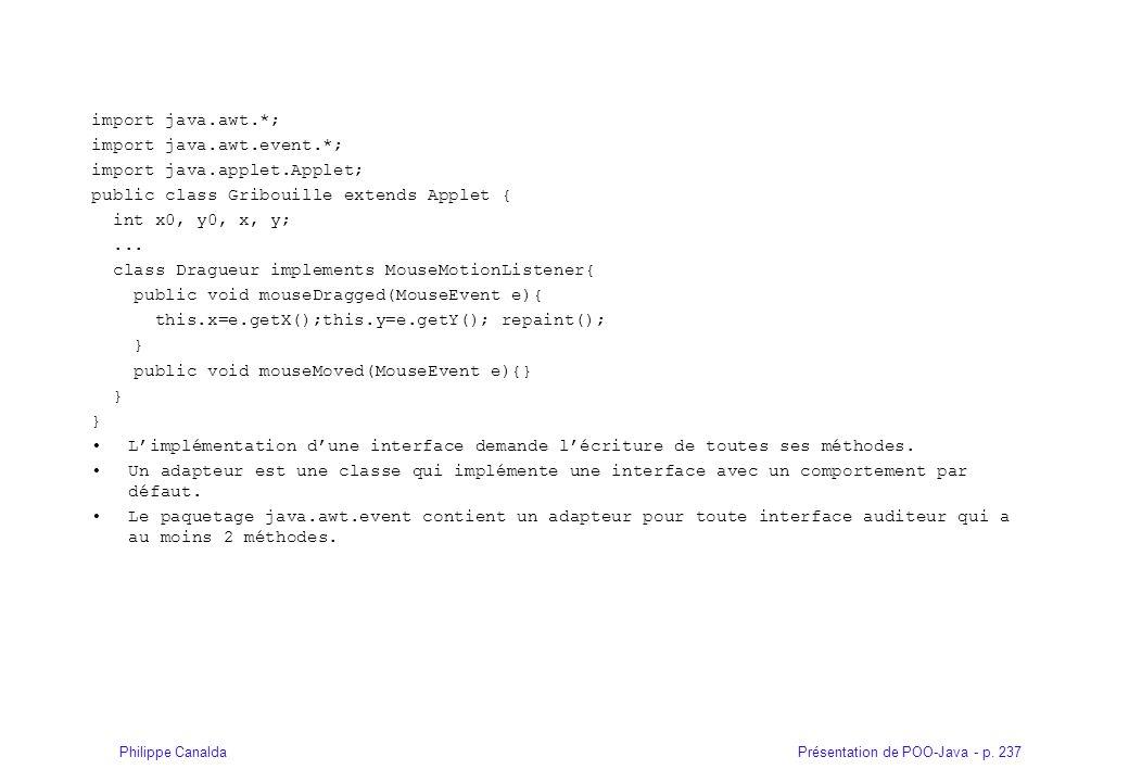 Présentation de POO-Java - p. 237Philippe Canalda import java.awt.*; import java.awt.event.*; import java.applet.Applet; public class Gribouille exten