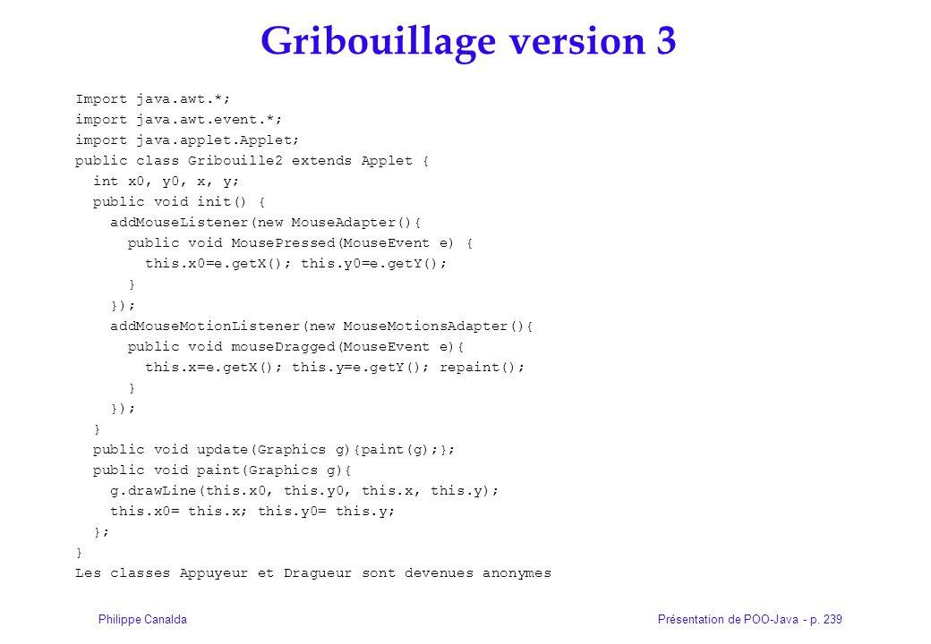 Présentation de POO-Java - p. 239Philippe Canalda Gribouillage version 3 Import java.awt.*; import java.awt.event.*; import java.applet.Applet; public
