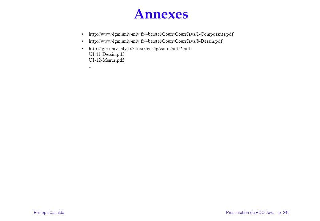 Présentation de POO-Java - p. 240Philippe Canalda Annexes http://www-igm.univ-mlv.fr/~berstel/Cours/CoursJava/1-Composants.pdf http://www-igm.univ-mlv
