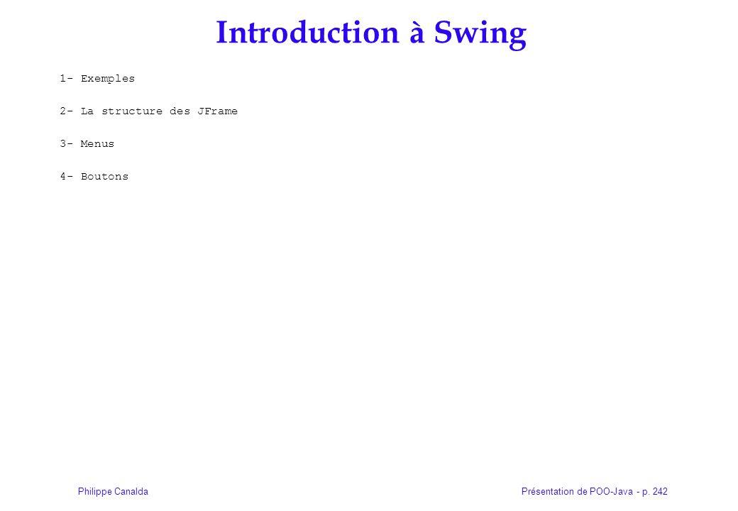 Présentation de POO-Java - p. 242Philippe Canalda Introduction à Swing 1- Exemples 2- La structure des JFrame 3- Menus 4- Boutons