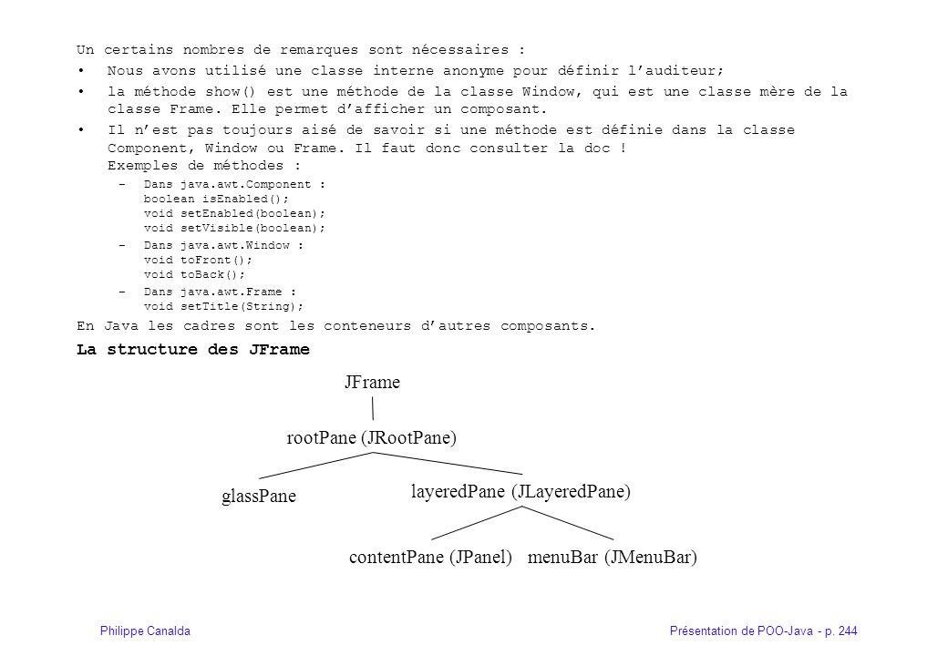 Présentation de POO-Java - p. 244Philippe Canalda Un certains nombres de remarques sont nécessaires : Nous avons utilisé une classe interne anonyme po
