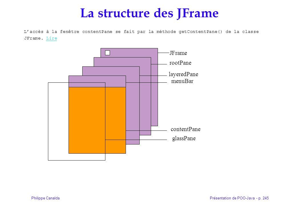 Présentation de POO-Java - p. 245Philippe Canalda La structure des JFrame Laccès à la fenêtre contentPane se fait par la méthode getContentPane() de l