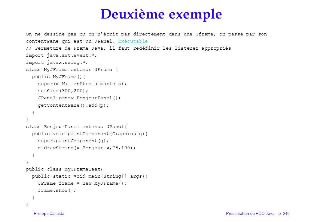 Présentation de POO-Java - p. 246Philippe Canalda Deuxième exemple On ne dessine pas ou on nécrit pas directement dans une Jframe, on passe par son co