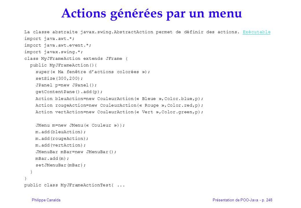 Présentation de POO-Java - p. 248Philippe Canalda Actions générées par un menu La classe abstraite javax.swing.AbstractAction permet de définir des ac