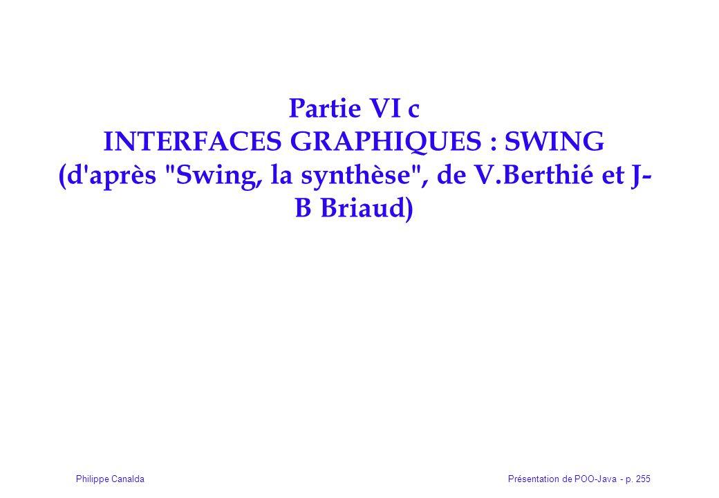 Présentation de POO-Java - p. 255Philippe Canalda Partie VI c INTERFACES GRAPHIQUES : SWING (d'après
