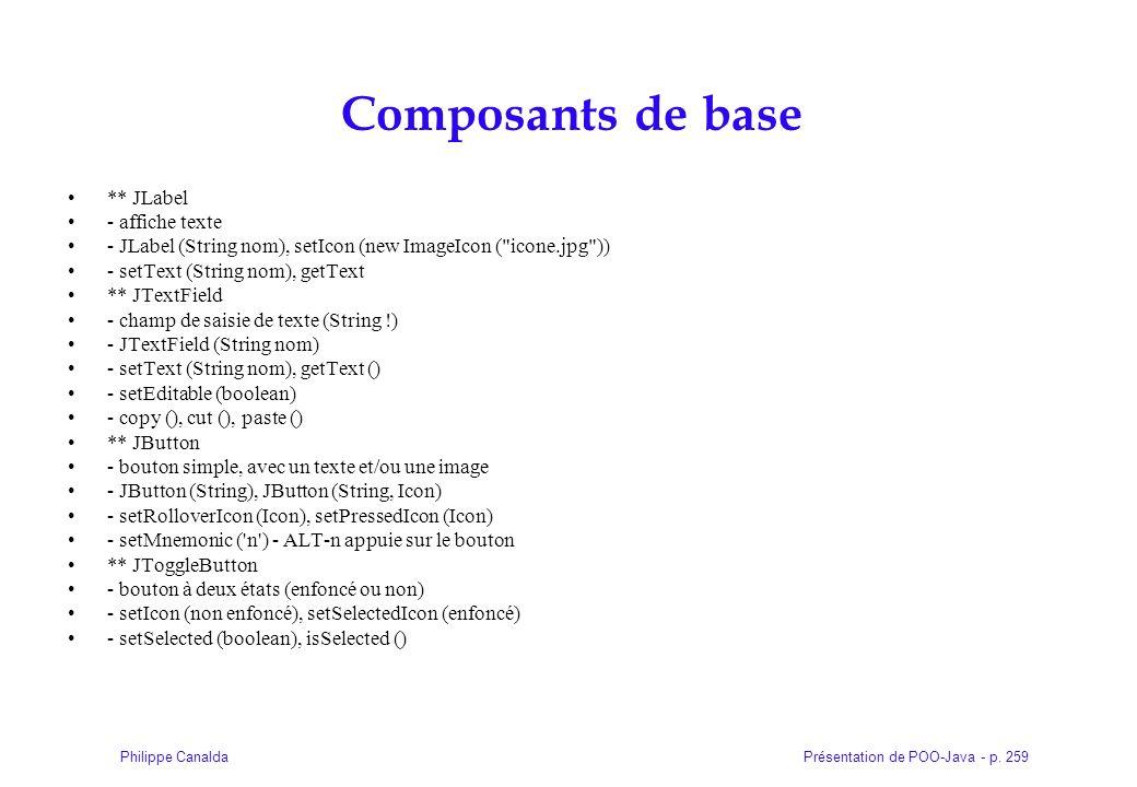 Présentation de POO-Java - p. 259Philippe Canalda Composants de base ** JLabel - affiche texte - JLabel (String nom), setIcon (new ImageIcon (