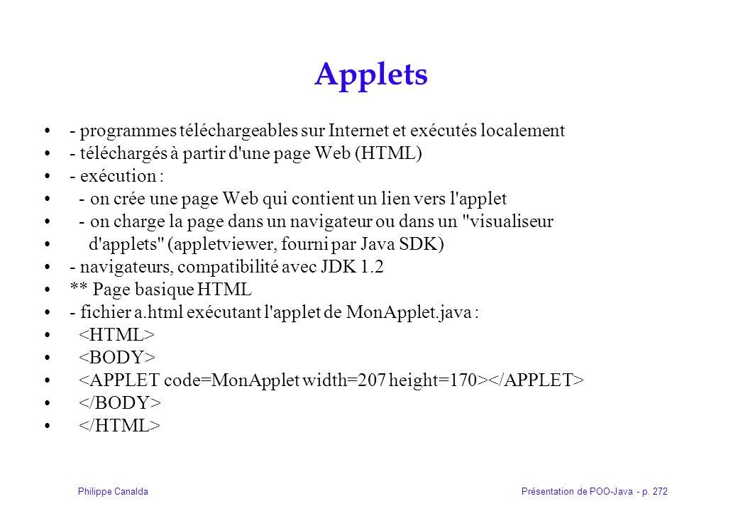 Présentation de POO-Java - p. 272Philippe Canalda Applets - programmes téléchargeables sur Internet et exécutés localement - téléchargés à partir d'un