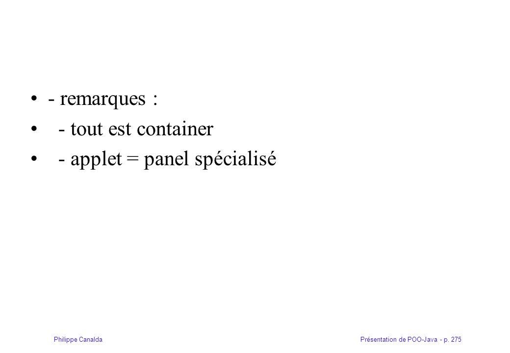 Présentation de POO-Java - p. 275Philippe Canalda - remarques : - tout est container - applet = panel spécialisé