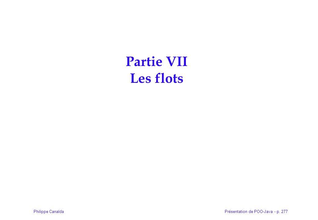Présentation de POO-Java - p. 277Philippe Canalda Partie VII Les flots