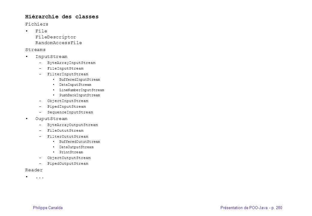 Présentation de POO-Java - p. 280Philippe Canalda Hiérarchie des classes Fichiers File FileDescriptor RandomAccessFile Streams InputStream –ByteArrayI