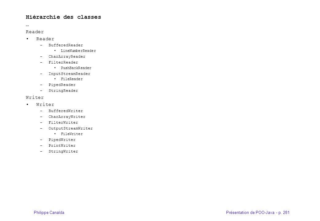 Présentation de POO-Java - p. 281Philippe Canalda Hiérarchie des classes … Reader –BufferedReader LineNumberReader –CharArrayReader –FilterReader Push