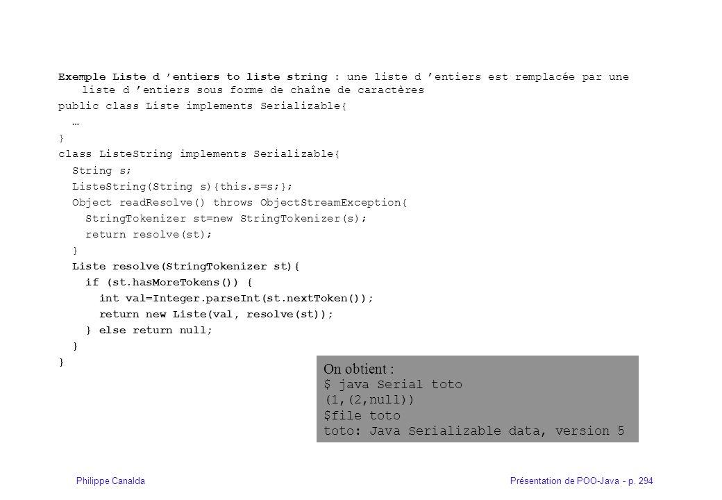 Présentation de POO-Java - p. 294Philippe Canalda Exemple Liste d entiers to liste string : une liste d entiers est remplacée par une liste d entiers