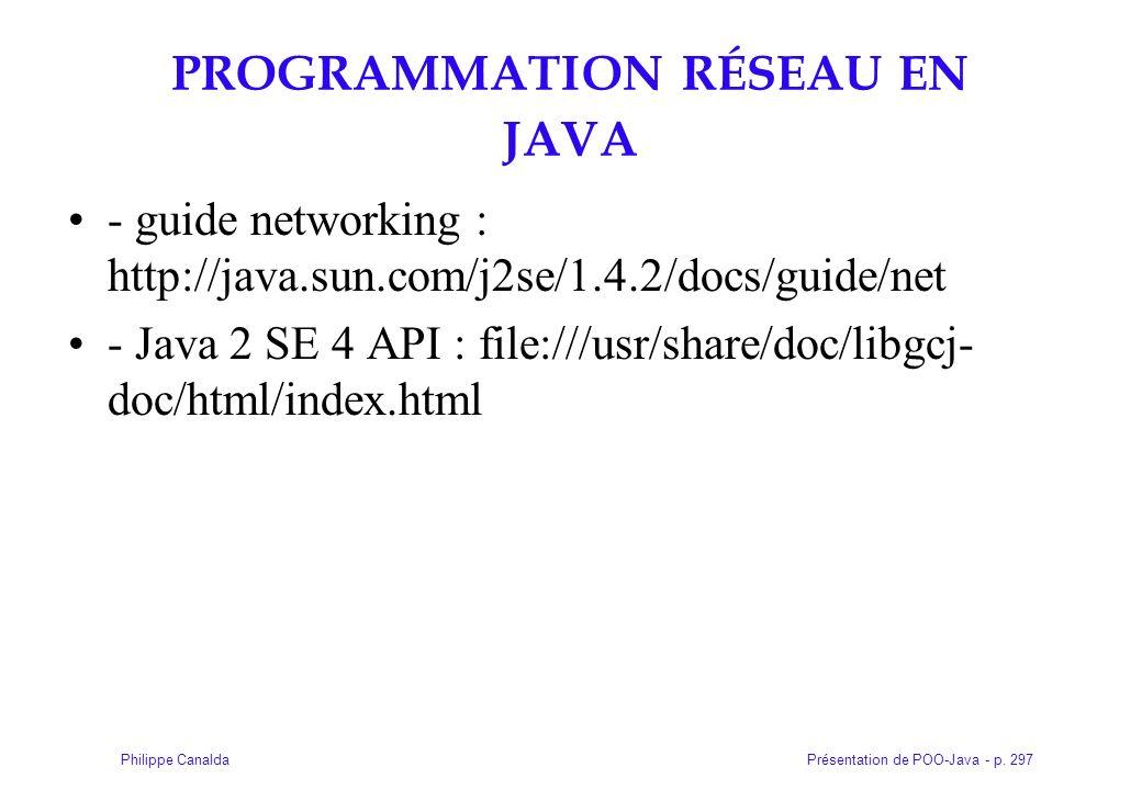 Présentation de POO-Java - p. 297Philippe Canalda PROGRAMMATION RÉSEAU EN JAVA - guide networking : http://java.sun.com/j2se/1.4.2/docs/guide/net - Ja