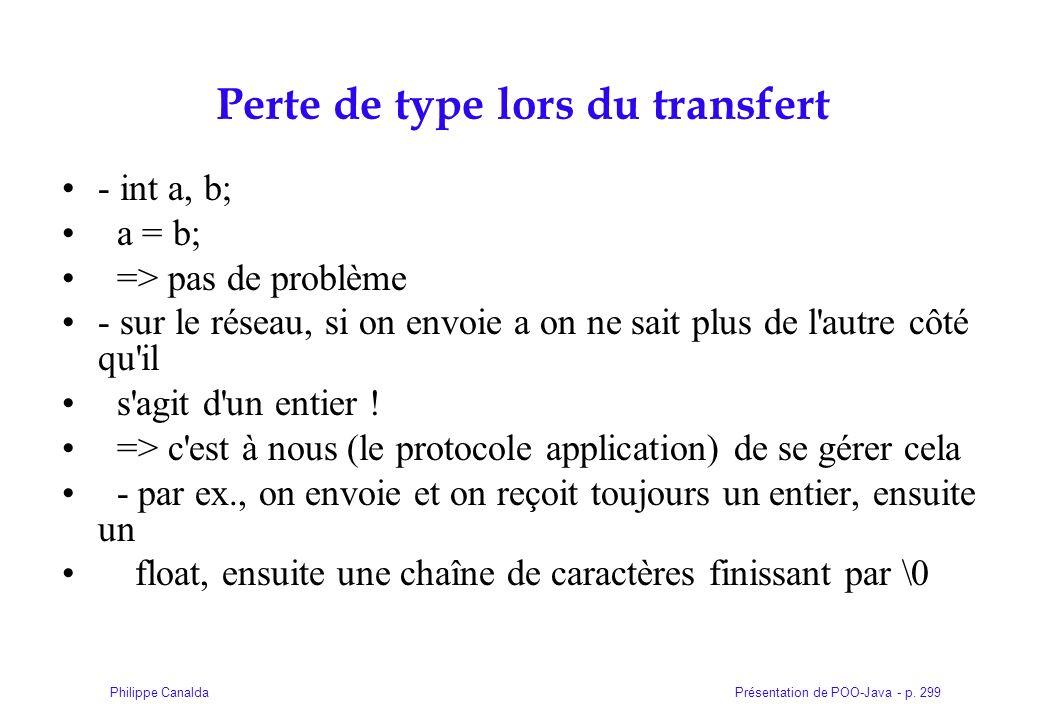 Présentation de POO-Java - p. 299Philippe Canalda Perte de type lors du transfert - int a, b; a = b; => pas de problème - sur le réseau, si on envoie