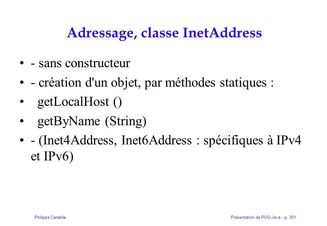Présentation de POO-Java - p. 301Philippe Canalda Adressage, classe InetAddress - sans constructeur - création d'un objet, par méthodes statiques : ge