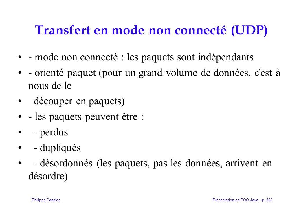 Présentation de POO-Java - p. 302Philippe Canalda Transfert en mode non connecté (UDP) - mode non connecté : les paquets sont indépendants - orienté p