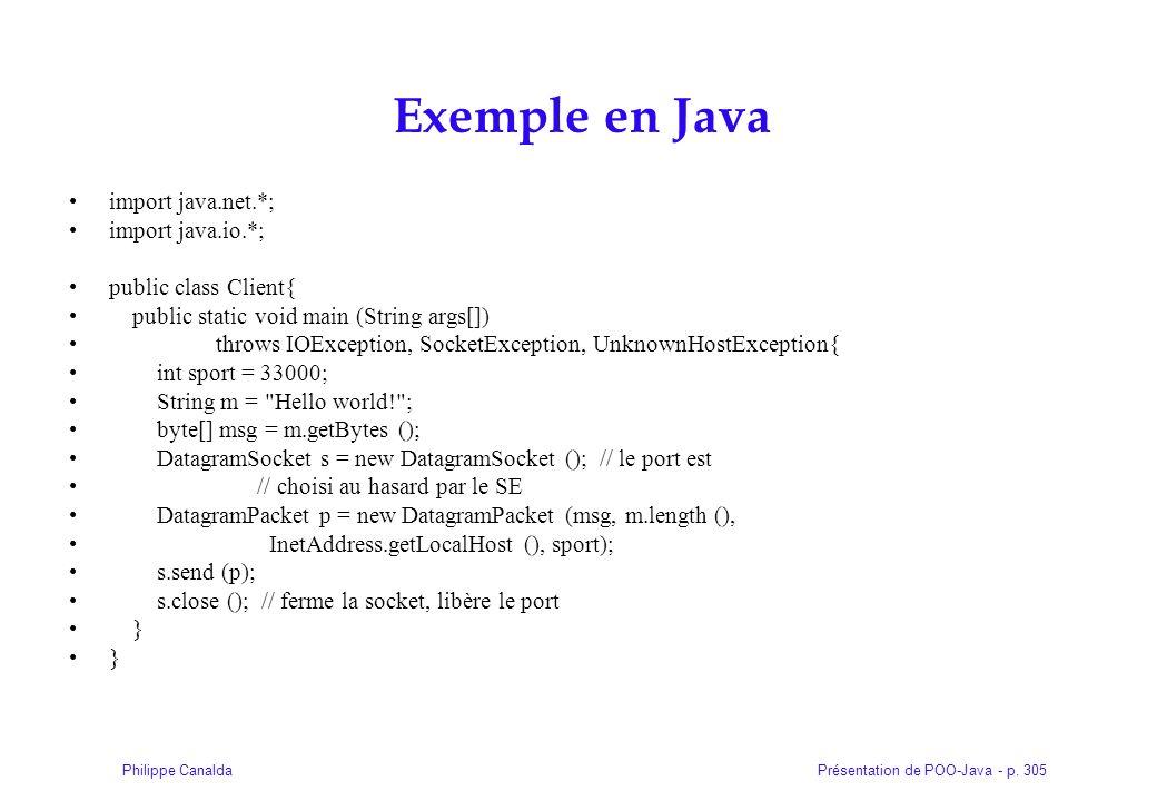 Présentation de POO-Java - p. 305Philippe Canalda Exemple en Java import java.net.*; import java.io.*; public class Client{ public static void main (S