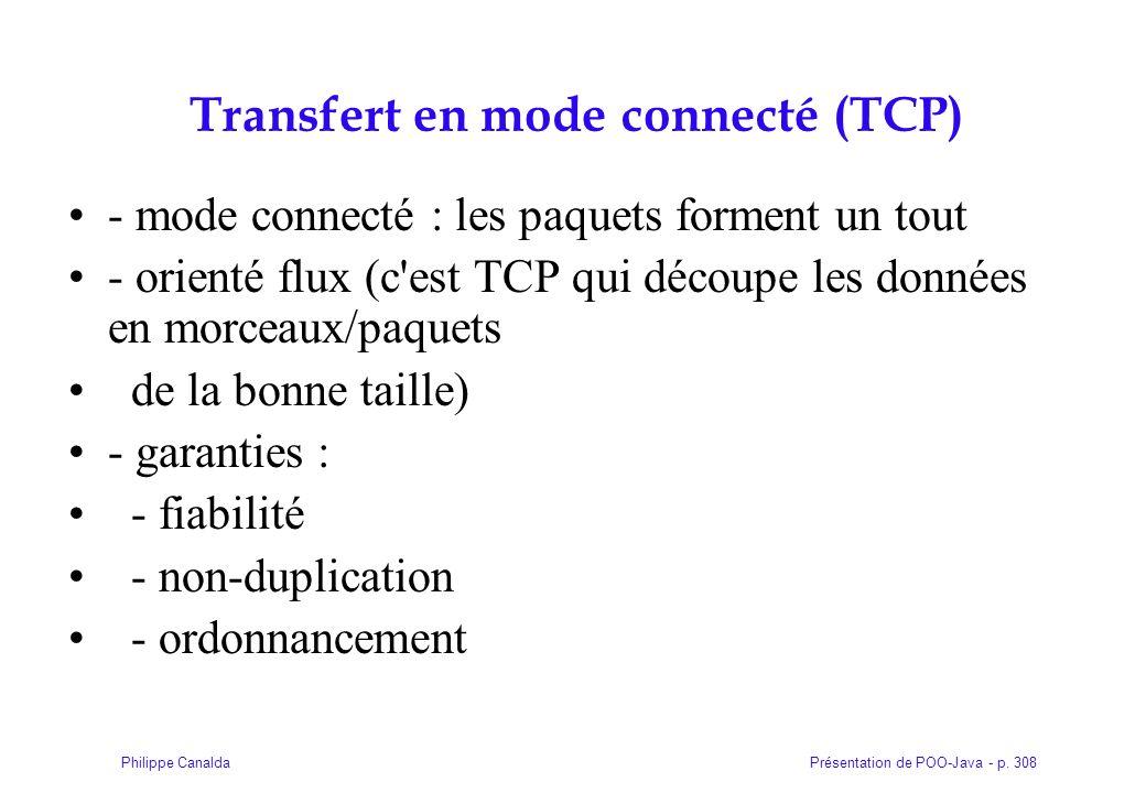 Présentation de POO-Java - p. 308Philippe Canalda Transfert en mode connecté (TCP) - mode connecté : les paquets forment un tout - orienté flux (c'est