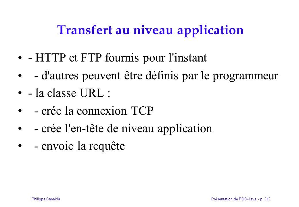 Présentation de POO-Java - p. 313Philippe Canalda Transfert au niveau application - HTTP et FTP fournis pour l'instant - d'autres peuvent être définis