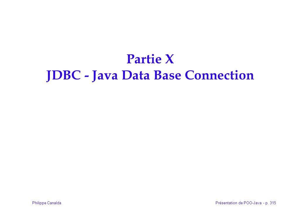 Présentation de POO-Java - p. 315Philippe Canalda Partie X JDBC - Java Data Base Connection