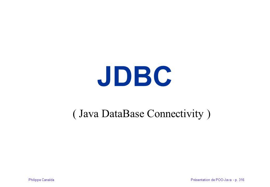 Présentation de POO-Java - p. 316Philippe Canalda JDBC ( Java DataBase Connectivity )