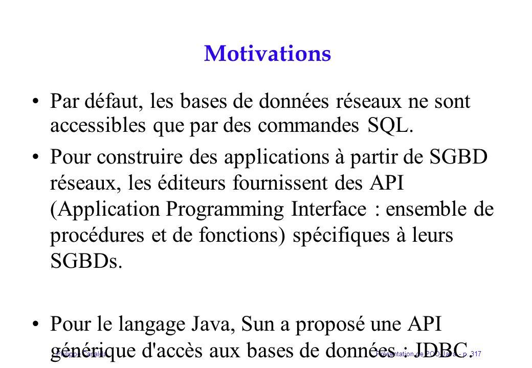 Présentation de POO-Java - p. 317Philippe Canalda Motivations Par défaut, les bases de données réseaux ne sont accessibles que par des commandes SQL.