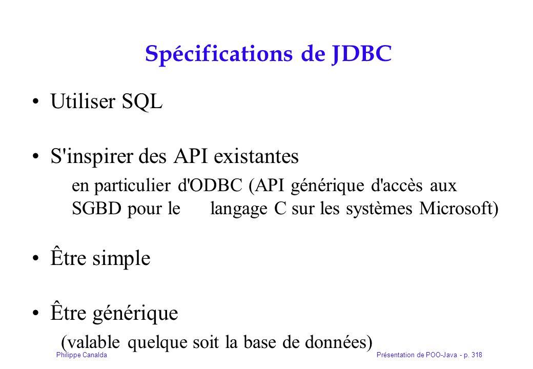 Présentation de POO-Java - p. 318Philippe Canalda Spécifications de JDBC Utiliser SQL S'inspirer des API existantes en particulier d'ODBC (API génériq