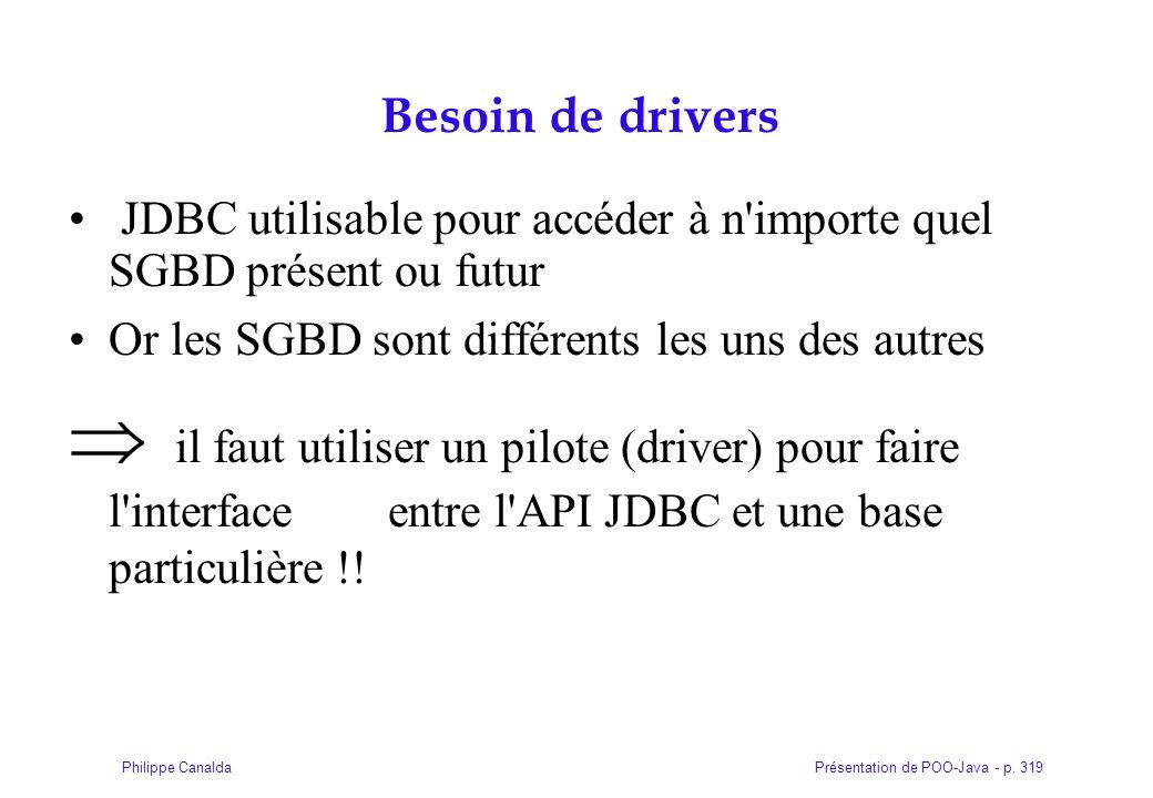 Présentation de POO-Java - p. 319Philippe Canalda Besoin de drivers JDBC utilisable pour accéder à n'importe quel SGBD présent ou futur Or les SGBD so