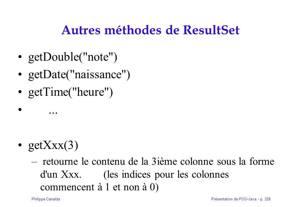 Présentation de POO-Java - p. 328Philippe Canalda Autres méthodes de ResultSet getDouble(
