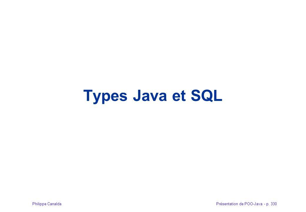 Présentation de POO-Java - p. 330Philippe Canalda Types Java et SQL
