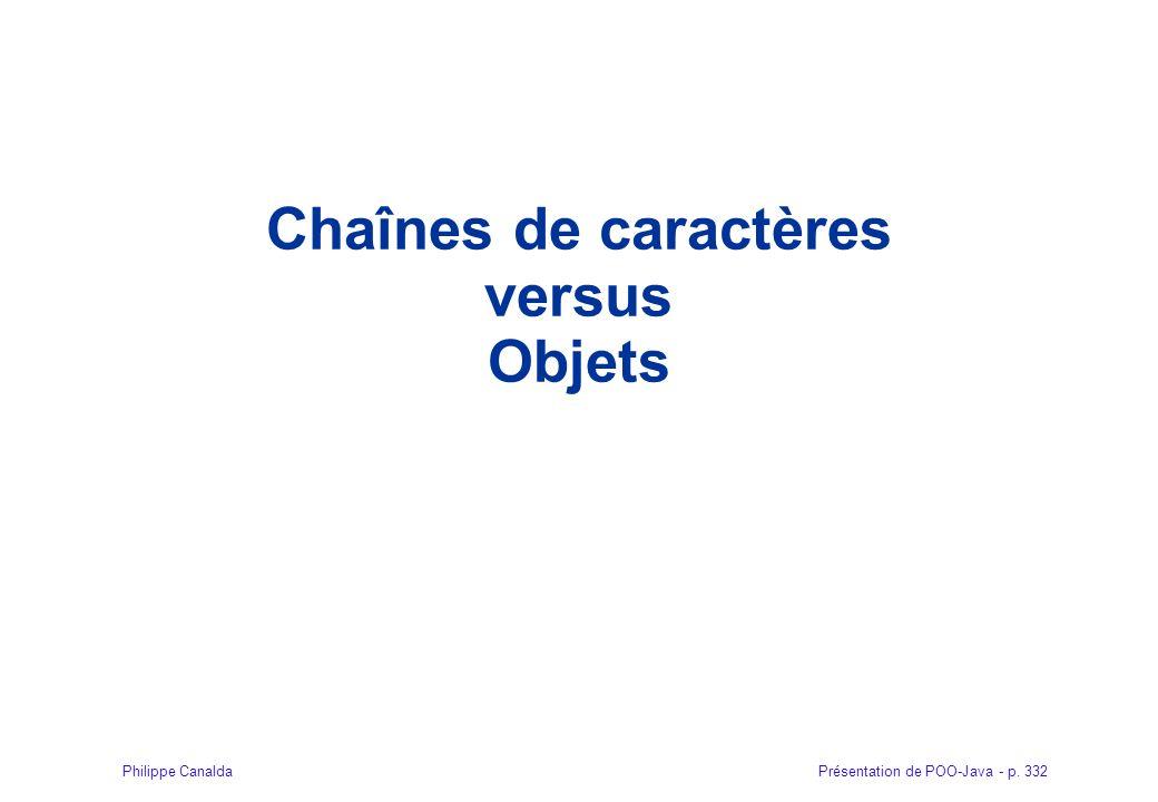 Présentation de POO-Java - p. 332Philippe Canalda Chaînes de caractères versus Objets