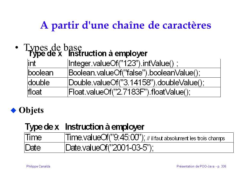Présentation de POO-Java - p. 336Philippe Canalda A partir d'une chaîne de caractères Types de base Objets