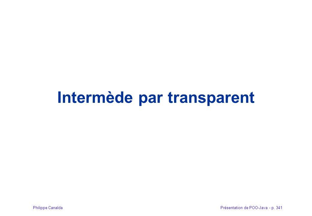Présentation de POO-Java - p. 341Philippe Canalda Intermède par transparent