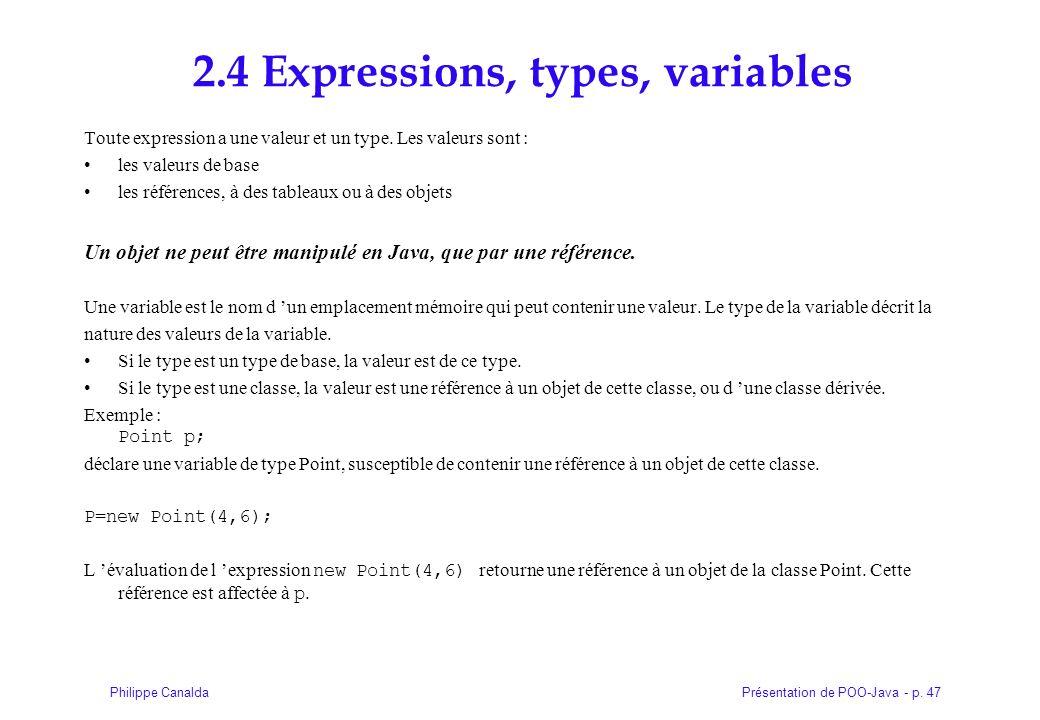 Présentation de POO-Java - p. 47Philippe Canalda 2.4 Expressions, types, variables Toute expression a une valeur et un type. Les valeurs sont : les va