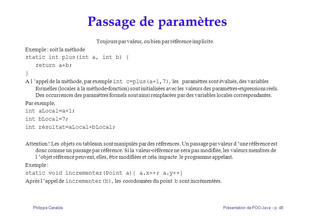 Présentation de POO-Java - p. 48Philippe Canalda Passage de paramètres Toujours par valeur, ou bien par référence implicite. Exemple : soit la méthode