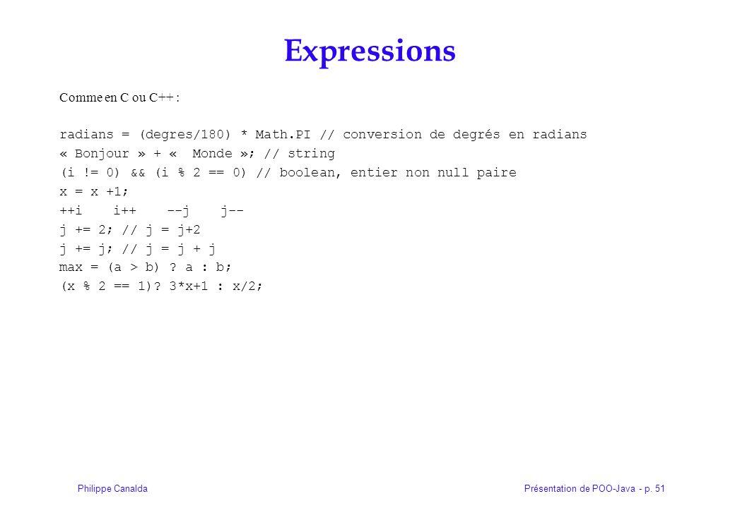 Présentation de POO-Java - p. 51Philippe Canalda Expressions Comme en C ou C++ : radians = (degres/180) * Math.PI // conversion de degrés en radians «