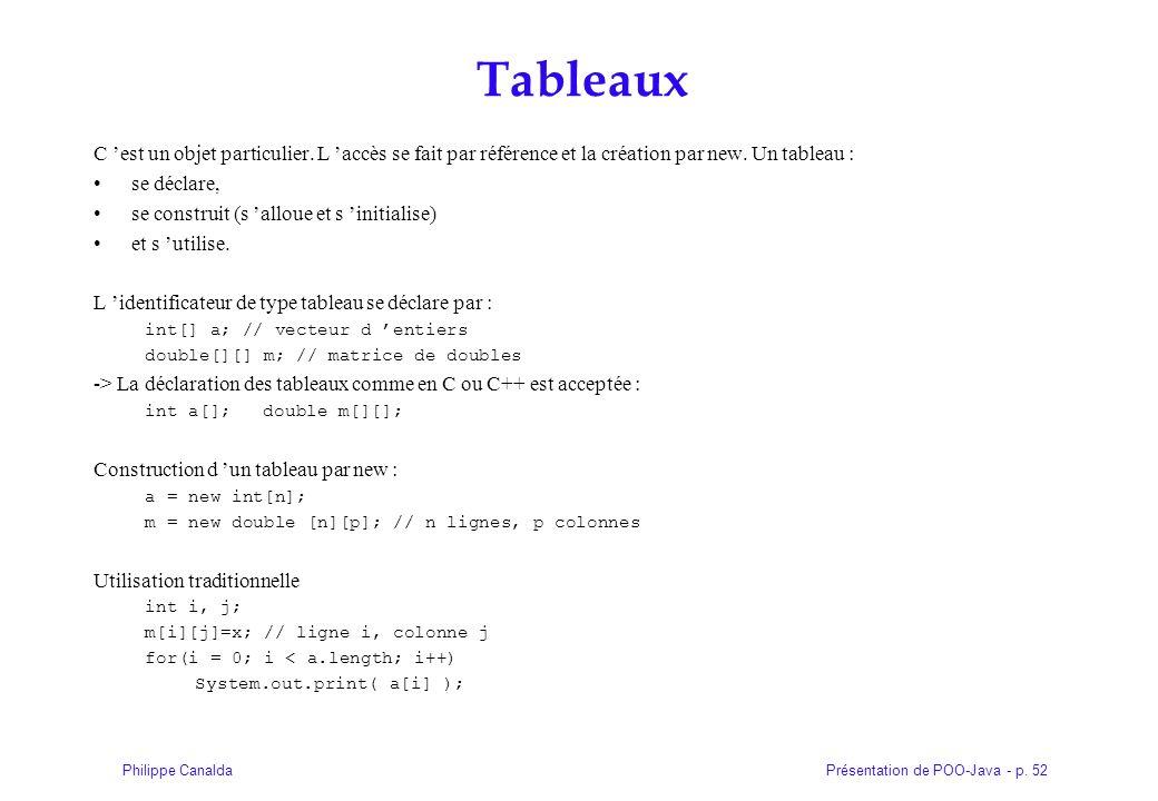 Présentation de POO-Java - p. 52Philippe Canalda Tableaux C est un objet particulier. L accès se fait par référence et la création par new. Un tableau