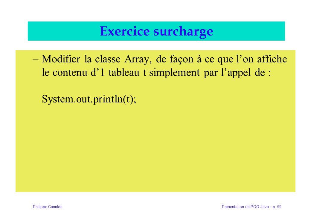 Présentation de POO-Java - p. 59Philippe Canalda Exercice surcharge –Modifier la classe Array, de façon à ce que lon affiche le contenu d1 tableau t s