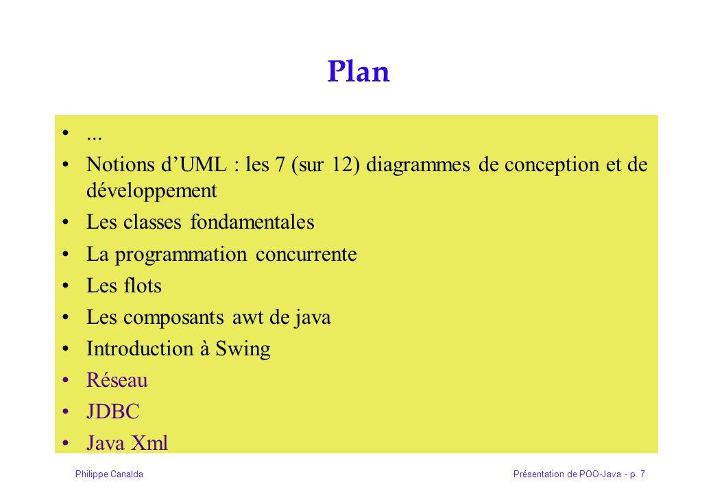 Présentation de POO-Java - p. 7Philippe Canalda Plan... Notions dUML : les 7 (sur 12) diagrammes de conception et de développement Les classes fondame