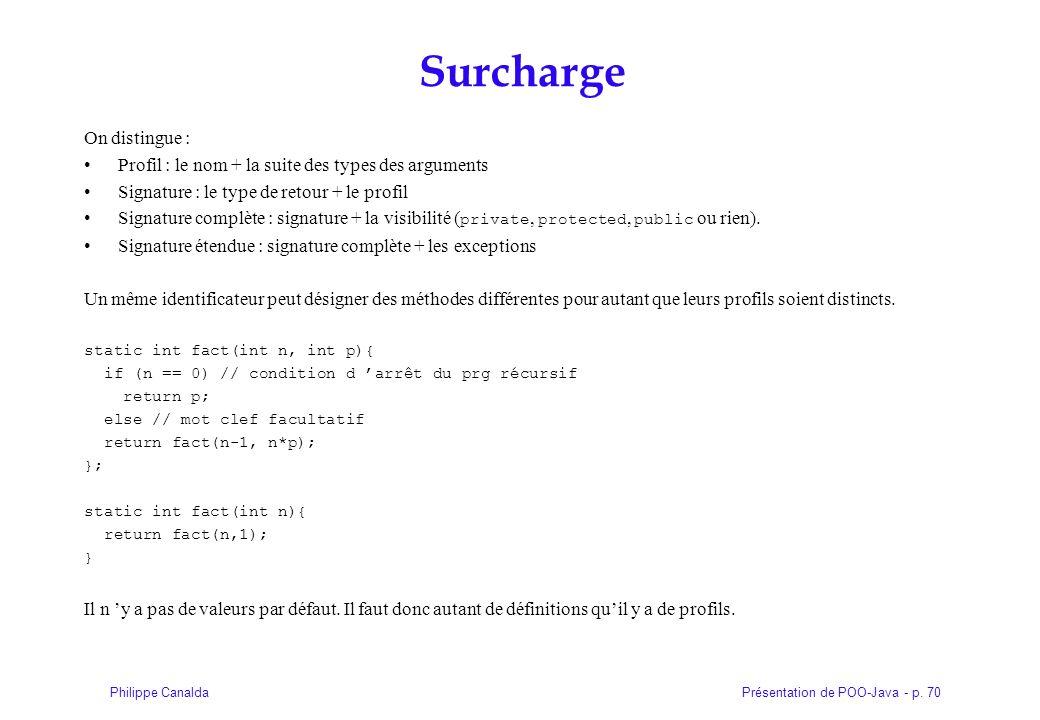 Présentation de POO-Java - p. 70Philippe Canalda Surcharge On distingue : Profil : le nom + la suite des types des arguments Signature : le type de re