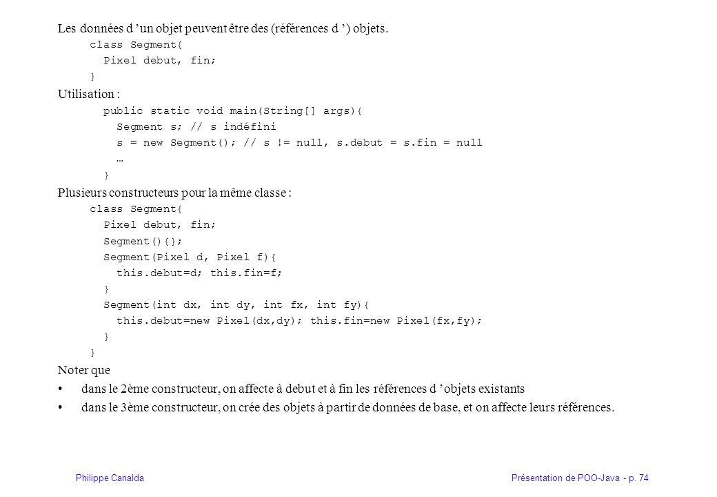 Présentation de POO-Java - p. 74Philippe Canalda Les données d un objet peuvent être des (références d ) objets. class Segment{ Pixel debut, fin; } Ut