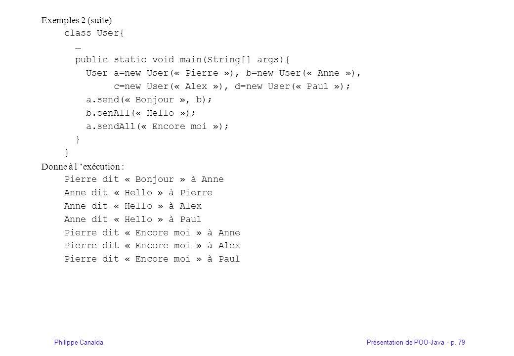 Présentation de POO-Java - p. 79Philippe Canalda Exemples 2 (suite) class User{ … public static void main(String[] args){ User a=new User(« Pierre »),