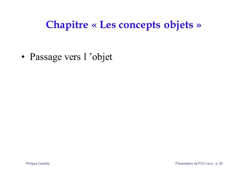 Présentation de POO-Java - p. 80Philippe Canalda Chapitre « Les concepts objets » Passage vers l objet