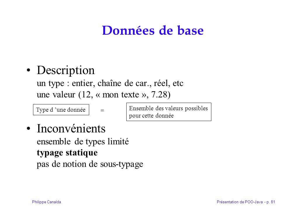 Présentation de POO-Java - p. 81Philippe Canalda Données de base Description un type : entier, chaîne de car., réel, etc une valeur (12, « mon texte »