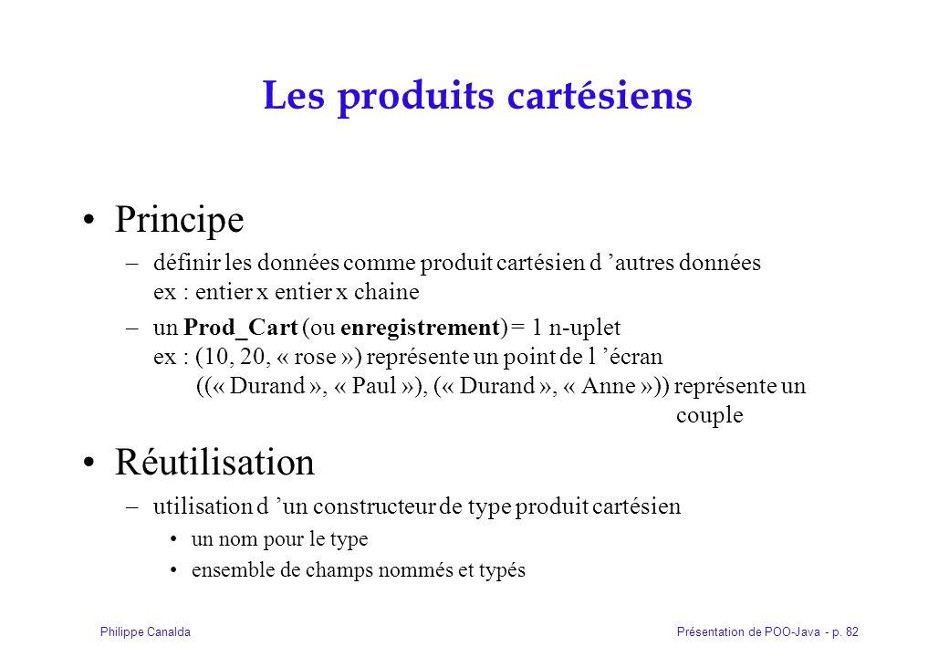 Présentation de POO-Java - p. 82Philippe Canalda Les produits cartésiens Principe –définir les données comme produit cartésien d autres données ex : e