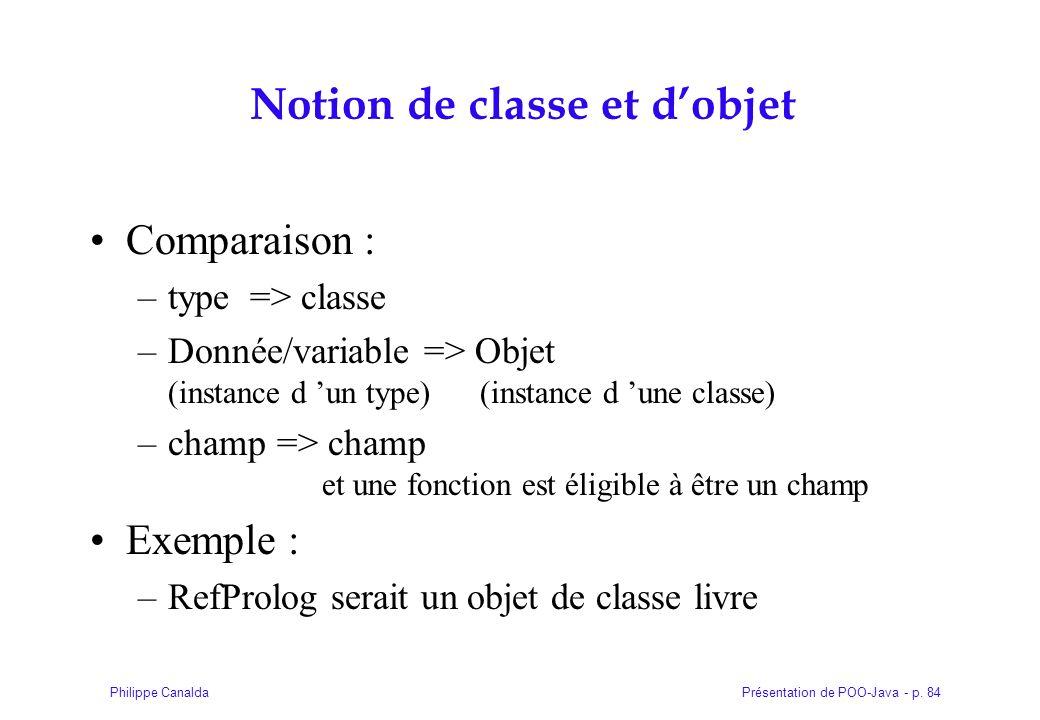Présentation de POO-Java - p. 84Philippe Canalda Notion de classe et dobjet Comparaison : –type => classe –Donnée/variable => Objet (instance d un typ