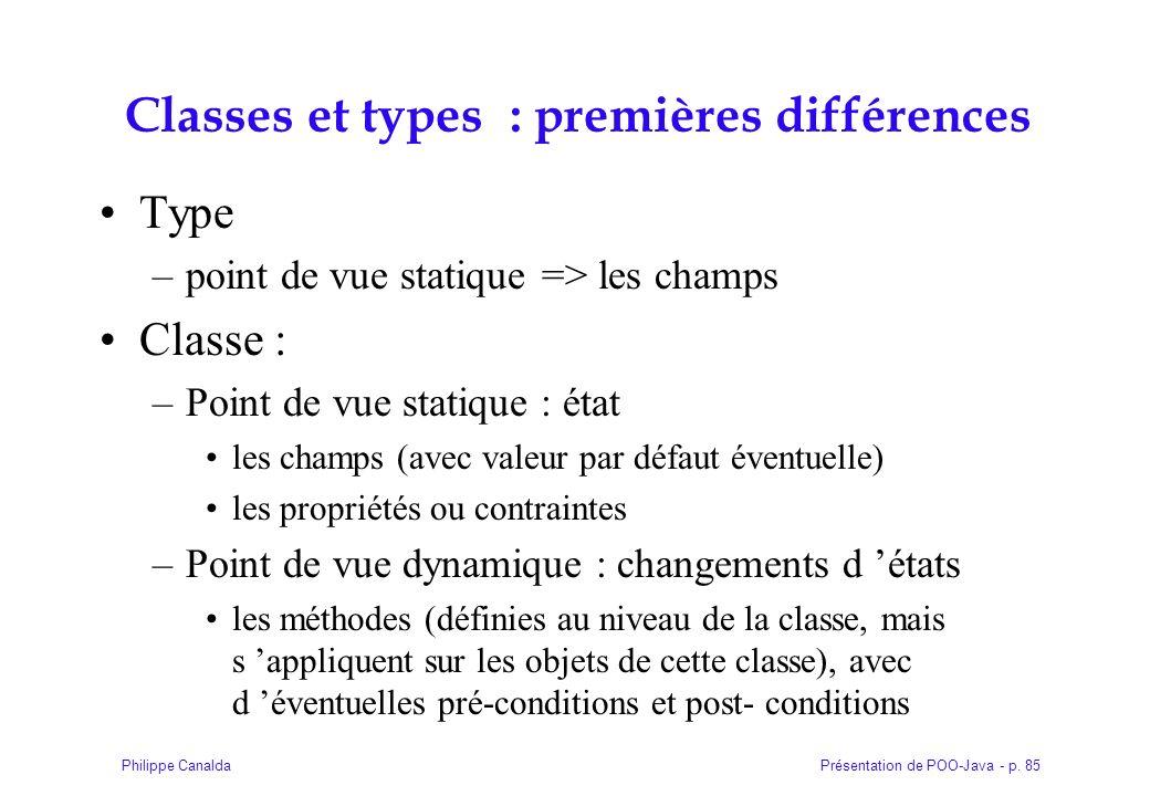 Présentation de POO-Java - p. 85Philippe Canalda Classes et types : premières différences Type –point de vue statique => les champs Classe : –Point de